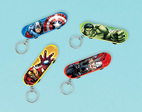"Amscan Marvelous Avengers Skateboard Keychain (1 Piece), Multi, 3 1/8 x 1"""