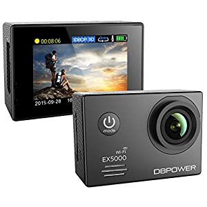 DBPOWER EX5000 14MP 2.0-Inch 1080P FHD Waterproof Wifi Action Camera with 2 Batteries and Accessories (Black)