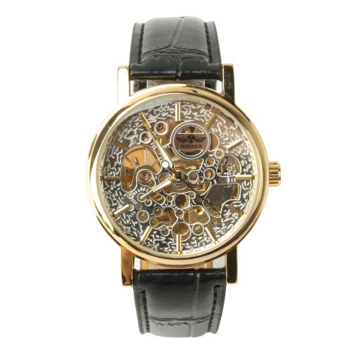 Yesurprise New Luxury Fashion Men Hollow Skeleton Leather Band Mechanical Unisex Wrist Watch Trendy 2013 Father's Day Gift #10