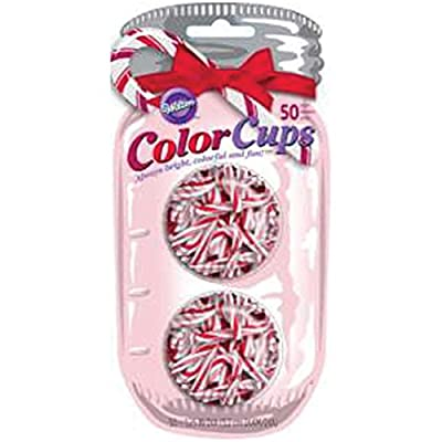 Wilton Candy Cane Pattern Mini Baking Cups, 50-Count