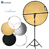 LimoStudio Swivel Head Reflector Support Holder Arm, Boom Stand Arm Bar, Light Stand Tripod with 43 Inch Diameter 5 Color in 1 Round Collapsible Reflector Disc Panel, Hand Held, Photo Studio, AGG2087