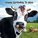 Cow & Streamers Birthday Card 'Happy Birthday To Moo' - 3D Goggly Moving Eyes