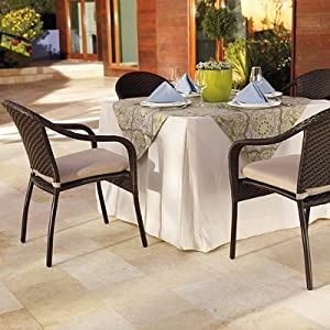 Cafe Curved Back Chairs and Table Set - Bronze, Round - Frontgate, Patio Furniture