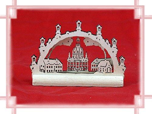 Schwibbogen Frauenkirche 2D Miniatur als Weihnachtsdekoration Original Erzgebirge aus eigener Herstellung