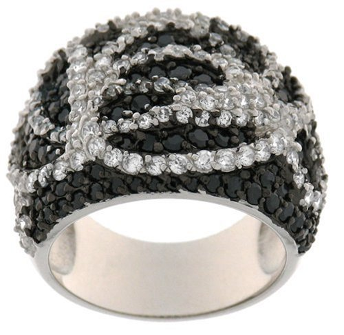 Sterling Silver Black and White Cubic Zirconia Swirl Ring by CW