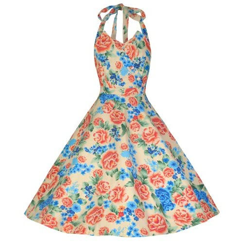 Lindy Bop 'Myrtle' Classy Vintage 1950's Halter Neck Miami Floral Swing Party Dress (M, Cream Floral)