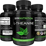 L-Theanine 200mg - 120 Count ● Effective for Stress Relief, Focus and Relaxation ● Vegetarian Capsules of Exceptional Purity - By SYM Nutrition