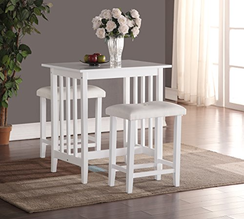 Roundhill Furniture 3-Piece Counter Height Dining Set with saddleback Stools, White (White Pub Table compare prices)