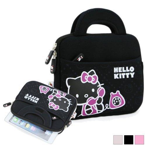 "Hello Kitty Themed Apple Ipad Mini / 8"" Tablet Sleeve W/ Handles In Black (Neoprene, Water Resistant, Branded Ykk Zippers, Soft Plush Inner Lining)"