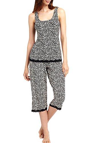 Luxury Lane Leopard Print Electrifying Lace Top And Capri 2-Piece Pajama Set - M