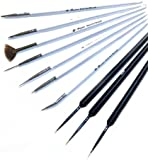 3pcs Precision Sable Nail Art Detailing Liner Brushes Plus 7 x Nail Art Brush Tool Set With Bonus