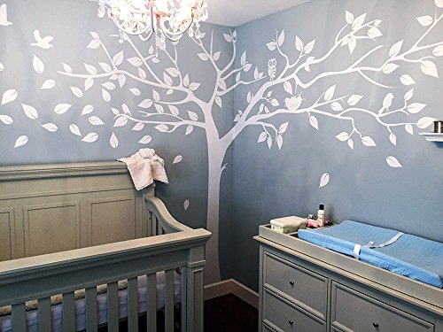 PopDecors – Super Big Tree White-133inch W – Beautiful Tree Wall Decals for Kids Rooms Teen Girls Boys Wallpaper Murals Sticker Wall Stickers Nursery Decor Nursery Decals PT-0129-WHT
