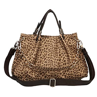 MG Collection SAIDA Brown Leopard Print Chain Décor Shopper Hobo Handbag