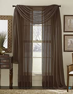 84 Long Sheer Curtain Panel Chocolate Brown Home Kitchen
