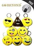 Mini Cute Emoji Smiley Emoticon Cushion Stuffed Plush Soft Toy Doll KeyChain (Set of 8 Different Designs)