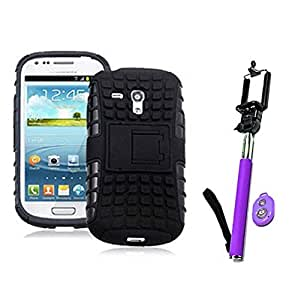 Hard Dual Tough Military Grade Defender Series Bumper back case with Flip Kick Stand for Samsung S3 + Wireless Bluetooth Remote Selfie Stick for all Smart phones by carla store.