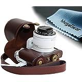 MegaGear Leder Kameratasche Kompaktkamera für Samsung NX3000 mit Objektiv 20-50 mm (Braun)
