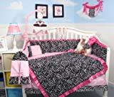 SoHo Pink with Black & White Zebra Chenille Crib Nursery Bedding 10 pcs Set thumbnail