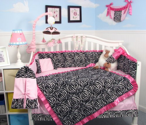 SoHo Pink with Black & White Zebra Chenille Crib Nursery Bedding 10 pcs Set (Crib Bumper Zebra compare prices)