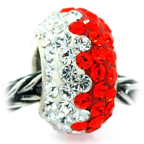 ".925 Sterling Silver "" White & Red "" Swarovski Crystal Pave Bead Pandora Troll Chamilia Biagi Bead Compatible at Amazon.com"