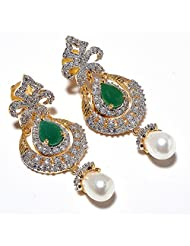 Earring Set CZ Emerald Pearl Gemstone One Gram Gold Plated Branded New Pave Stylish Tanishque Jewelry