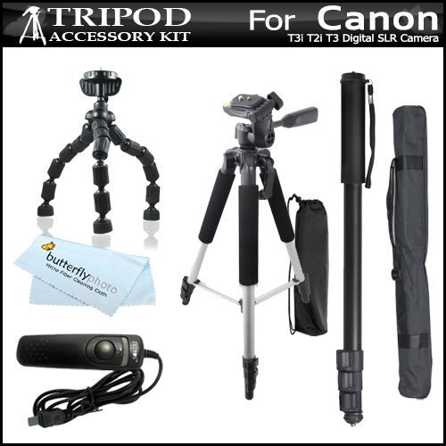 "Tripod Accessory Bundle Kit For Canon Eos Rebel T5I, T4I,(650D) T3I, T2I, T3, Eos 60D, Eos 70D Digital Slr Camera, Sx60 Hs Camera Includes 57 Inch Pro Tripod + 67 Inch Monopod + 10"" Flexible Gripster + Remote Shutter Release + Microfiber Cleaning Cloth"