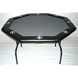 Texas Hold'em Poker Table w/ Stainless Cup Holders, Suited Speed Cloth, with Folding Table Legs Picture