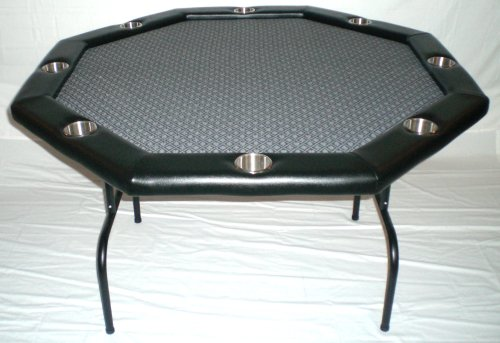 "Texas Holdem Poker Table w/ Stainless Cup Holders, Suited Speed Cloth, with Folding Table Legs 48""x48""x30""high - Platinum"
