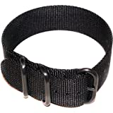 Zulu G10 Ballistic Nylon Nato Military Watch Strap 3 Ring PVD - Black 22mm