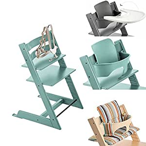 stokke tripp trapp chair w baby set stokke tray signature stripe cushion aqua. Black Bedroom Furniture Sets. Home Design Ideas