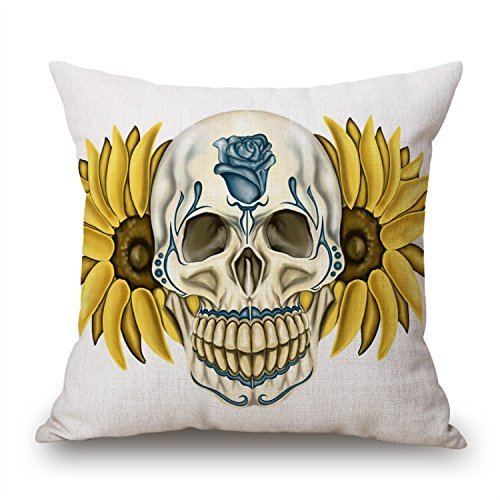 Home Ware Present Pillowcase Cushion Cover Sunflower Skull Theme Decorative Throw Pillow Cover Cushion Cover for Couch Chair - Unique Gifts