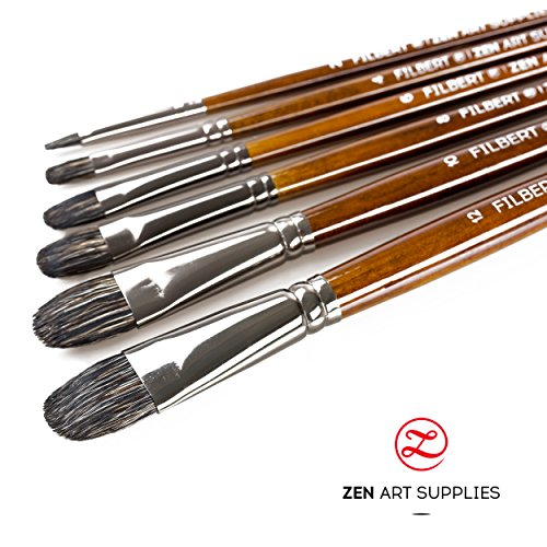 Top Quality Filbert Paint Brush Set for Oil, Acrylic, Gouache and Watercolor Painting (6-Pieces) - Badger & Synthetic Mix Long Handled - Artist's Choice Collection by ZenArt
