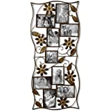 """Adeco 9-Opening Decorative Bronze Iron Wall Hanging Collage Photo Frame, 4 by 6"""""""
