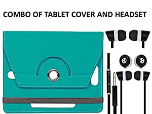 Value Combo Of Skyblue Tablet Book Flip Case Cover And Black Headset Earphones For Acer Iconia A1 713 With 3.5mm Jack & Mic