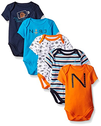 Nautica Baby Boys' Newborn Five-Pack Bodysuits, Orange, 0-3 Months