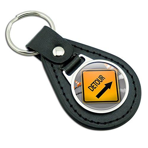 detour-arrow-stylized-orange-grey-caution-sign-black-leather-metal-keychain-key-ring