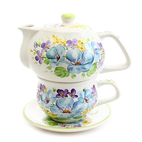 "Handmade Hand-painted Exclusive Porcelain Tea for One Set ""Flowers and Joy"" 11.8/8.1 Ounces. ""Ella-ceramica"" By St Elisabeth Convent"