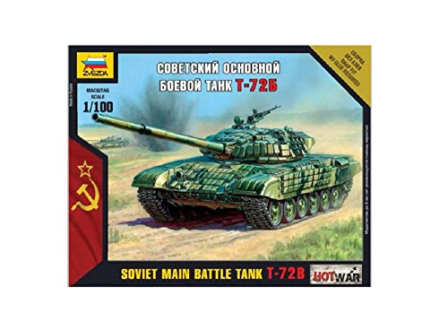 Zvezda Models 1/100 T-72B Soviet Main Battle Tank Snap Fit