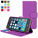 Snugg® iPhone 5 / 5s Case - Leather Flip Case with Lifetime Guarantee (Purple) for Apple iPhone 5 / 5s