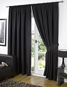 """Pair of BLACK 66"""" Width x 90"""" Drop , Supersoft Thermal BLACKOUT Curtains INCLUDING PAIR OF MATCHING TIE BACKS, 'Winter Warm but Summer Cool' by VICEROY BEDDING"""