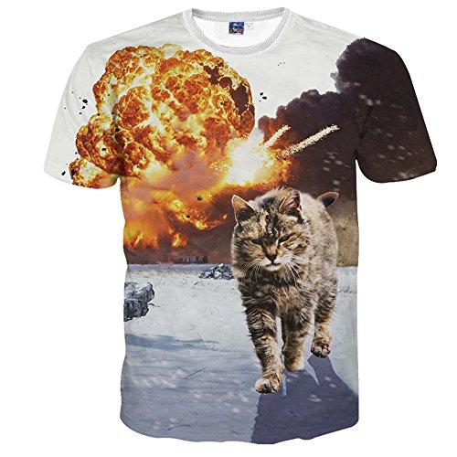 1911NC メンズ 3D 春 夏 ストリート 原宿系 デザイン 綿 コットン ストレッチ ロゴ サマー モード 動物 t-shirt プリント ヒップホップ おもしろ おしゃれ ファッション ロック スタイル 戦火の中の猫 柄 Tシャツ 半袖 夏