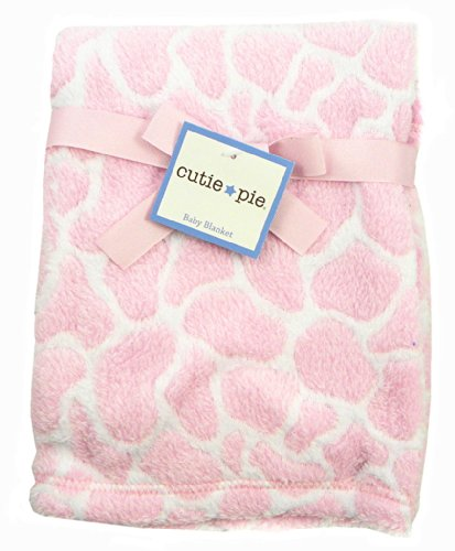 BabyGear Baby-Girls Newborn Girls Burnout Blanket On Hanger - Giraffe, Pink, One Size - 1
