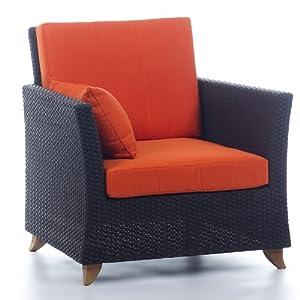 RATTAN ARM CHAIR /w orange cushion
