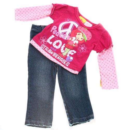 "Strawberry Shortcake Toddler Girls ""Peace"" Top & Denim Pants Set Size 2T front-80777"
