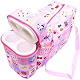 N&M Multi Purpose Baby Diaper Mother Bag With 2 Bottle Holders - Keep Baby Bottles Warm (Pink)