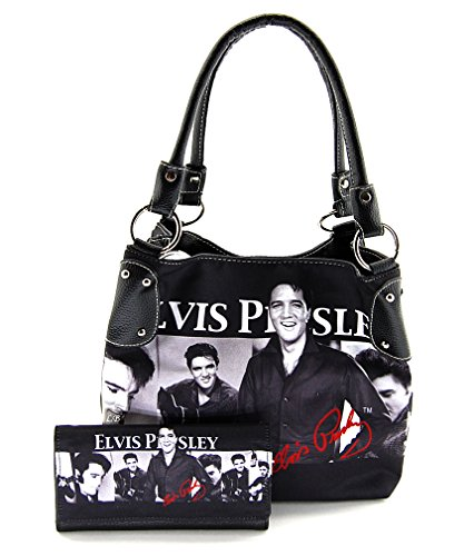 Elvis Presley Medium Purse Wallet Set, Black and White Bag, EV930