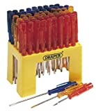 DISPLAY OF 60 PLAIN SLOT RADIO SCREWDRIVERS - Moulded plastic counter display holding 60 plain slot radio screwdrivers with coloured plastic handles. Assorted blades lengths 35 to 75mm. Shrink wrapped outer carton.