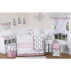 Sweet Jojo Designs Pink, Black and White Princess Baby Girl Bedding 11pc Crib Set without bumper