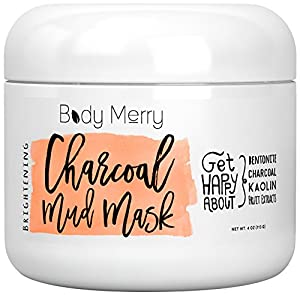 Brightening Charcoal Mud Mask, 2-Pack - Facial Scrub Cleans Skin, Clears Blackheads, Unclogs Pores; Fight Acne& Detoxify + Brighten Complexion w Best Anti-Aging Fruit Extracts + Bentonite + Kaolin