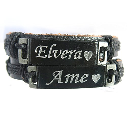 Custom Made Personalized Leather Bracelet with Any Name Free Engraving (Custom Made Bracelets For Men compare prices)